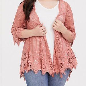 Torrid Pink Scallop Lace Kimono